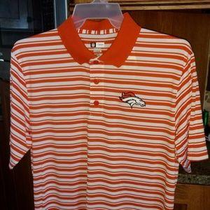 NFL Denver Broncos Football Striped Polo Shirt L